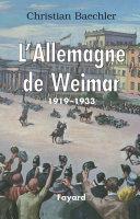 Pdf L'Allemagne de Weimar Telecharger