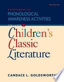Sourcebook Of Phonological Awareness Activities Volume I Children S Classic Literature