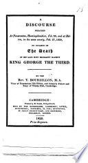 A Discourse preached     on occasion of the death of     King George the Third