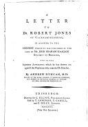A Letter to Dr Robert Jones of Caermarthenshire