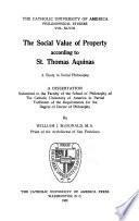 The Social Value of Property According to St. Thomas Aquinas