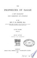 The Prophecies Of Isaiah A New Tr With Comm And Appendices By T K Cheyne