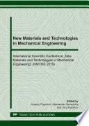 New Materials And Technologies In Mechanical Engineering Book PDF