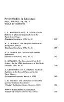 Soviet Studies in Literature
