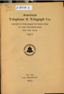 Annual Report of the American Telephone and Telegraph Company for