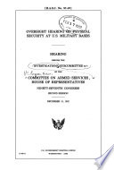 Oversight Hearing on Physical Security at U.S. Military Bases