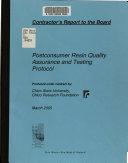 Postconsumer Resin Quality Assurance and Testing Protocol