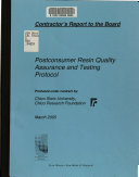 Postconsumer Resin Quality Assurance and Testing Protocol