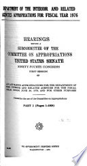 Department of the Interior and Related Agencies Appropriations for Fiscal Year 1976 Book