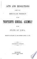 Acts and Resolutions Passed at the Regular Session of the General Assembly of the State of Iowa Book