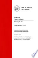 Title 21 Food and Drugs Parts 170 to 199 (Revised as of April 1, 2014)