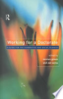 Working for a Doctorate  : A Guide for the Humanities and Social Sciences