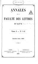 Annales de la Faculté des lettres d'Aix