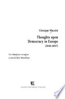 Thoughts upon democracy in Europe (1846-1847)