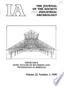 IA, the Journal of the Society for Industrial Archeology
