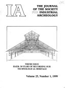 IA  the Journal of the Society for Industrial Archeology