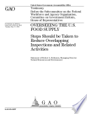 Overseeing the U.S. food supply steps should be taken to reduce overlapping inspections and related activities : testimony before the Subcommittee on the Federal Workforce and Agency Organization, Committee on Government Reform, House of Representatives