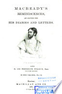 Macready s Reminiscences  and Selections from His Diaries and Letters