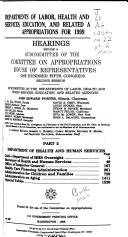 Departments of Labor  Health and Human Services  Education  and Related Agencies Appropriations for 1999  Department of Health and Human Services