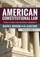 American Constitutional Law: The Bill of Rights and Subsequent ...