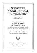 Webster s Geographical Dictionary