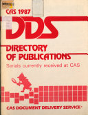 CAS     DDS Directory of Publications