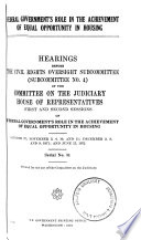 Federal Government s Role in the Achievement of Equal Opportunity in Housing
