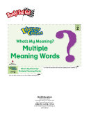 Multiple Meaning Words--What's My Meaning? Literacy Center