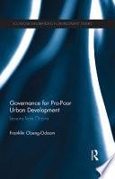 Governance for Pro Poor Urban Development