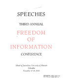 Speeches     Annual Freedom of Information Conference Book PDF