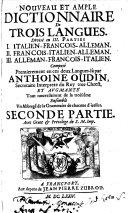 Nouveau Et Ample Dictionnaire De Trois Langues