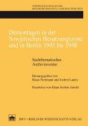 Demontagen in der Sowjetischen Besatzungszone und in Berlin 1945 bis 1948