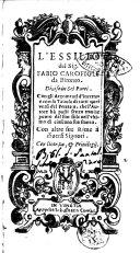 L'essilio del sig. Fabio Carofigli da Bitonto. Diuiso in sei parti. ... Con altre sue rime a diuersi signori