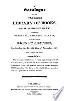 A catalogue of the     library     at Womersley park     which will be sold by auction   With  Catalogue of     drawings     prints     and     paintings Book