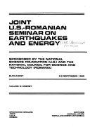 Joint U S  Romanian Seminar on Earthquakes and Energy  Energy