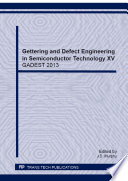 Gettering and Defect Engineering in Semiconductor Technology XV Book