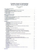 Canadian Journal of Anthropology Book