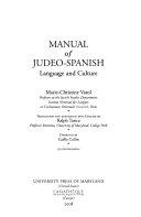 Manual of Judeo-Spanish
