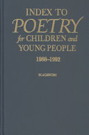 Index to Poetry for Children and Young People  1988 1992 Book