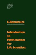 Introduction to Mathematics for Life Scientists Pdf/ePub eBook