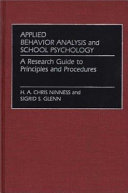 Applied Behavior Analysis and School Psychology