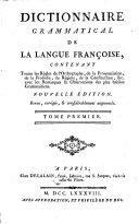 Dictionnaire Grammatical De La Langue Françoise