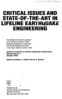 Pdf Critical Issues and State-of-the-art in Lifeline Earthquake Engineering