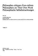 Philosophes Critiques D'eux-mêmes