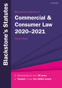 Blackstone s Statutes on Commercial and Consumer Law 2020 2021
