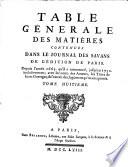 Journal des scavans. Table generale