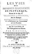 Les vies des hommes illustres de Plutarque