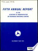 Annual Report Of The Secretary Of Transportation On Hazardous Materials Control