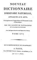 Nouveau dictionnaire d'histoire naturelle,