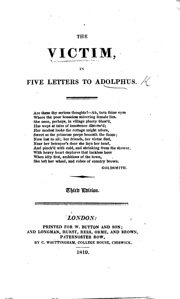 The Victim  in Five Letters to Adolphus      By W  Giles   Third Edition